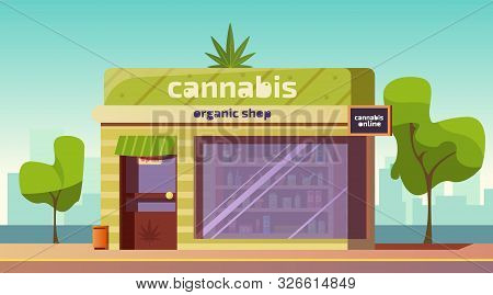 Cannabis Store, Marijuana Organic Shop Building Front View With Equipment And Accessories For Smokin