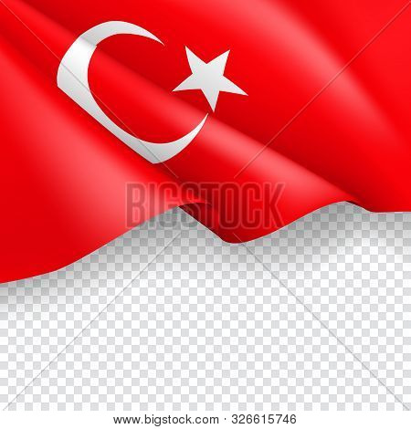 Turkey Patriotic Web Banner With 3d Flag. Realistic Fluttering Turkish Flag On Transparent Backgroun