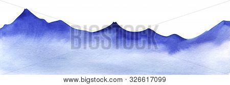 Mountain Range Silhouette. Watercolor Shape Of Mountains. Decorative Element For Page Design. Blue M