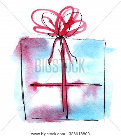 Watercolor Graphic Element. Light Blue Gift Box With A Lush Bow. Hand Drawn On Paper Sketch Illustra