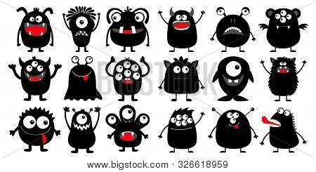Monster Black Silhouette Super Big Icon Set. Happy Halloween. Eyes, Tongue, Tooth Fang, Hands Up. Cu