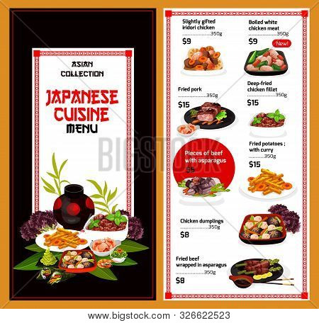 Japanese Cuisine Vector Menu. Traditional Asian Food, Slightly Gifted Iridori Chicken, Boiled White