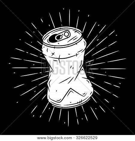 Aluminum Can. Hand Drawn Vector Illustration With Aluminum Can And Divergent Rays. Used For Poster,