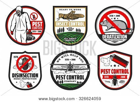 Pest And Insect Control, Deratization And Disinsection Isolated Icons. Vector House And Harvest Prot