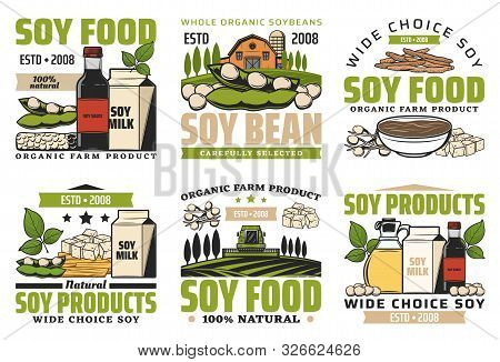 Soy Food Products, Milk, Beans, Meat And Sauce Isolated Icons. Vector Natural Soybeans, Vegetarian H