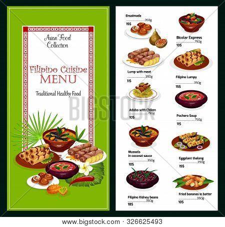 Filipino Cuisine Vector Menu, Asian Food. Ensaimada And Bicolar Express, Lump With Meat And Lumpy, A