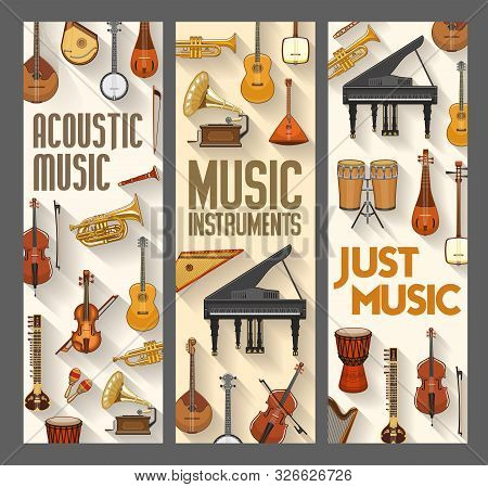 Acoustic Music, Folk, Jazz And Orchestra Musical Instruments. Vector Contrabass And Harp, Piano And