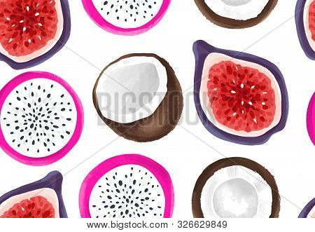 Vector Seamless Pattern With Dragon Fruit And Coconut. Pitaya Or Pitahaya Background.