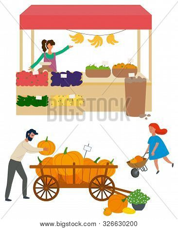 Salesperson With Organic Production, Isolated Woman With Cucumber And Aubergines, Bananas And Apples