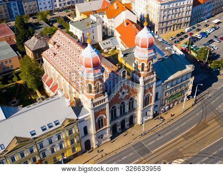Pilsen / Czech Republic - September 9, 2019: Aerial view The Great Synagogue in Pilsen is the second largest synagogue in Europe.