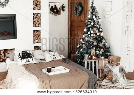 Christmas Home Interior With Tree And Fireplace. Traditional Living Room In Country House Decorated
