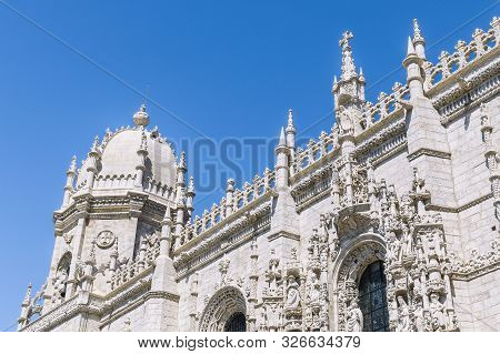 Detail Of The Jeronimos Monastery Or Hieronymites Monastery, A Unesco World Heritage Site In Lisbon.