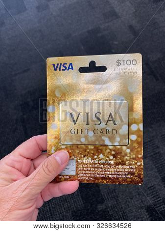 Orlando,fl/usa-10/7/19: A Visa Gift Card Ready For A Person To Purchase As The Perfect Gift For A Fa