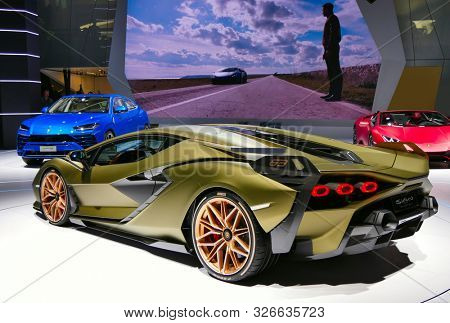 FRANKFURT, GERMANY - SEP 19.2019: Lamborghini Sian FKP 37 sports car unveiled at the Frankfurt IAA Motor Show 2019. - Image