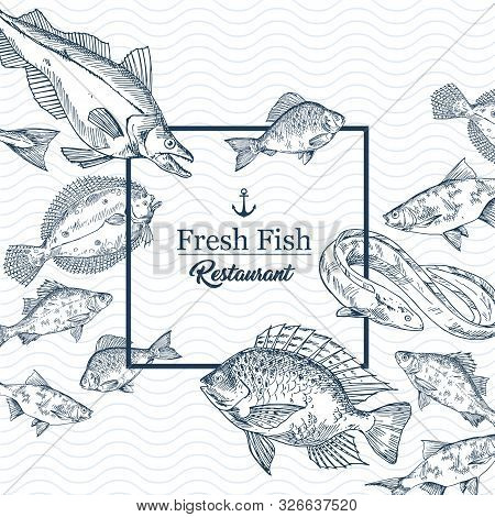 Restaurant Banner With Seafood Or Fishing Club Sign. Badge With Sketches Of Pike And Eel, Crucian An