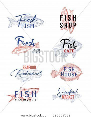 Set Of Isolated Icons With Fish Sketches. Signs For Seafood Products Or Insignia For Underwater Food