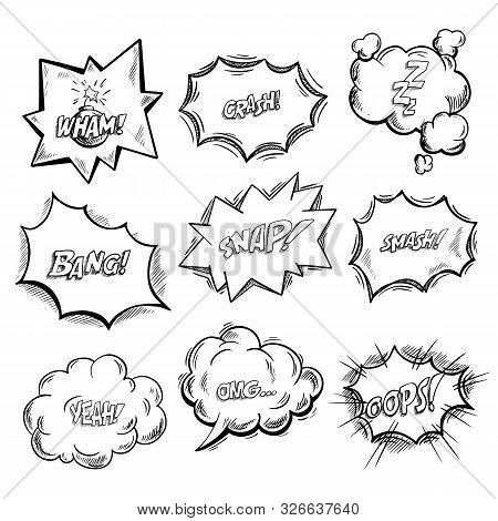 Exclamation Clouds Sketch And Onomatopoeia Comic Signs, Stars For Cartoon Emotions, Bubble With Expr