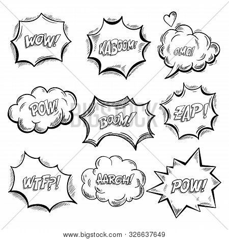Set Of Isolated Onomatopoeia Comics Sounds And Explosion Bubbles. Clouds For Emotions And Exclamatio