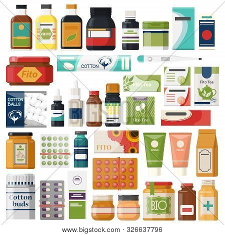 Set Of Isolated Pharmacy Items Or Medicine Drugs, Hygiene And Healthcare Icons. Herball Drug And Pil