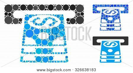 Bank Cashpoint Composition For Bank Cashpoint Icon Of Round Dots In Variable Sizes And Color Tinges.