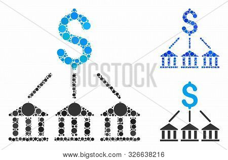 Bank Association Composition For Bank Association Icon Of Filled Circles In Variable Sizes And Shade