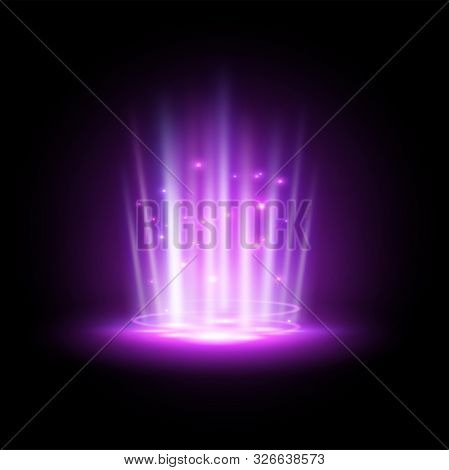Purple Hologram Or Podium Projector, Concert Beam Or Night Club Ray, Ufo Teleport Or Blue Summon Tun