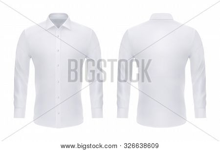 Isolated Formal White Shirt With Buttons For Business Or Man Long Sleeve Official Cloth . Empty Or B