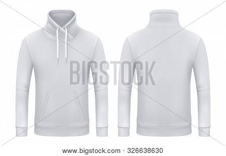 Set Of Isolated Long Sleeve Sweatshirt Or Top Wear For Man And Woman. Blank Template For White Jacke