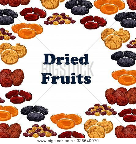Dried Fruits Frame Of Sweet Food. Vector Dates And Raisins, Apricots And Prunes, Figs And Pineapple,