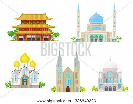 Christian Church, Catholic Cathedral, Muslim Mosque And Buddhism Pagoda Temple Religion Buildings. V