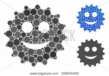 Glad Sticker Composition For Glad Sticker Icon Of Small Circles In Various Sizes And Color Tinges. V