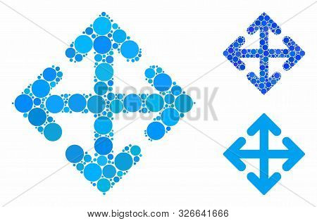 Direction Variants Mosaic For Direction Variants Icon Of Round Dots In Various Sizes And Color Tinge