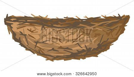 One Empty Brown Birds Nest In Side View From Small Branches Isolated, Small Nest Of Thin Branches Of