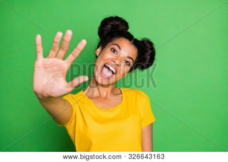 Give Me Five, Buddy. Photo Of Pretty Dark Skin Lady Raise Arm Up Greets Friends Overjoyed Wear Casua