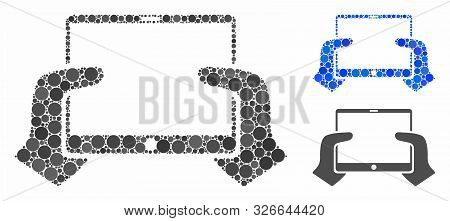 Hands Hold Pda Mosaic For Hands Hold Pda Icon Of Round Dots In Variable Sizes And Color Hues. Vector