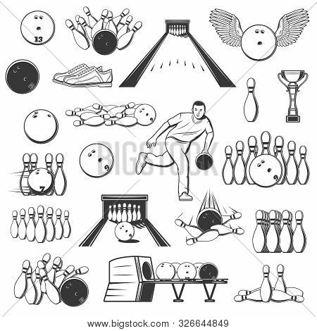 Bowling Sport Isolated Item Icons. Vector Ninepins, Trophy Cups And Alleys, Ten-pins And Winged Ball