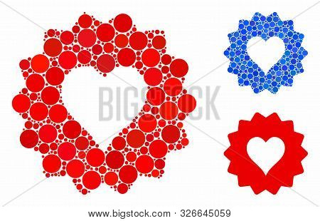 Hearts Token Mosaic For Hearts Token Icon Of Round Dots In Various Sizes And Color Tinges. Vector Ro