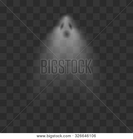 Realistic Ghost. Scary Halloween Apparition Face. Spooky Transparent Halloween Ghost Isolated Vector