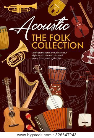 Folk Musical Instruments. Vector Music Notes, Ethnic Djembe Drums, Saxophone And Accordion. Banjo Gu