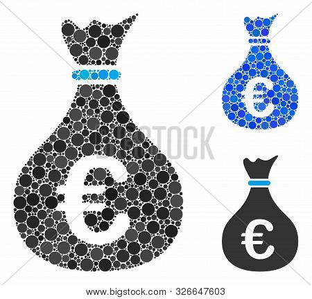 Invest composition for invest icon of round dots in variable sizes and color tinges. Vector round dots are organized into blue illustration. Dotted invest icon in usual and blue versions. poster