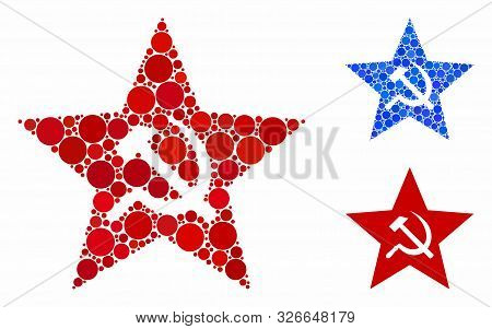 Communism Star Composition For Communism Star Icon Of Filled Circles In Variable Sizes And Color Tin