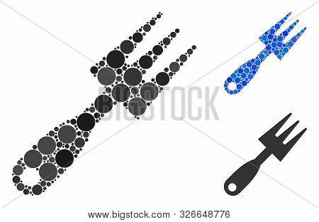 Cultivator Rake Mosaic For Cultivator Rake Icon Of Spheric Dots In Variable Sizes And Shades. Vector