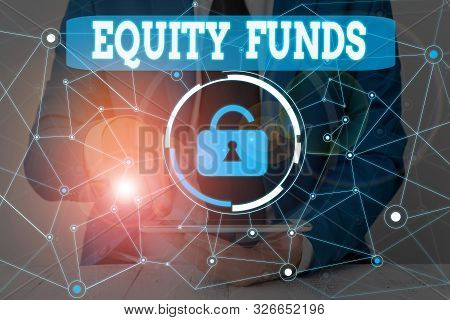 Text sign showing Equity Funds. Conceptual photo type of mutual fund that buys ownership in businesses Male human wear formal work suit presenting presentation using smart device. poster