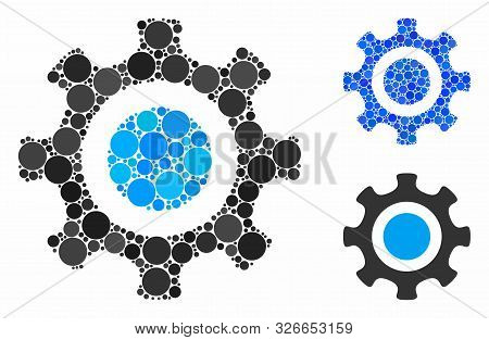 Cogwheel Composition For Cogwheel Icon Of Small Circles In Variable Sizes And Color Tinges. Vector F