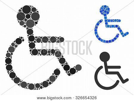 Handicapped Composition For Handicapped Icon Of Spheric Dots In Different Sizes And Color Hues. Vect