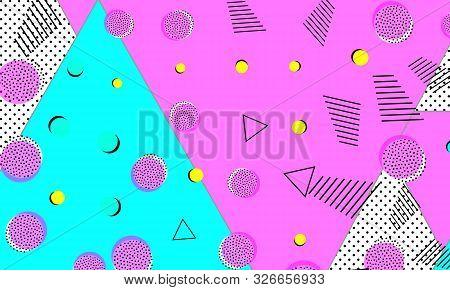 Magenta Funky Wallpaper. Turquoise Halftone Print. Fun Design. Rectangular Banner. Purple Hipster Co