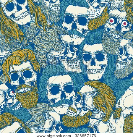 Bearded Skull, Blue Colors Seamless Pattern. Male Skull With A Stylish Haircut, Beard And Mustache.