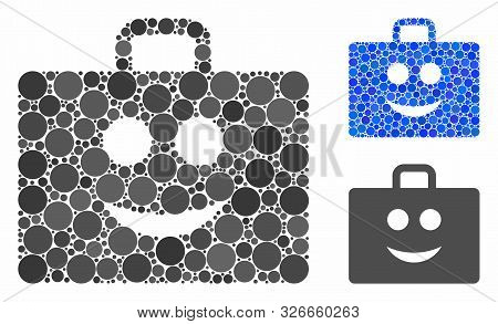 Glad Case Mosaic For Glad Case Icon Of Small Circles In Variable Sizes And Color Hues. Vector Small