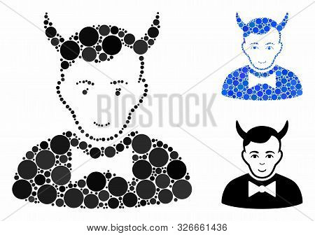 Devil Mosaic For Devil Icon Of Round Dots In Various Sizes And Shades. Vector Round Elements Are Com