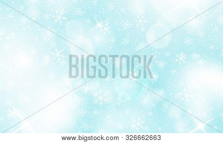 Winter Background. Realistic Snowflakes. Vector Illustration. Christmas Background. Falling Snow.